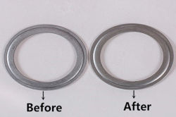 steel ring before and after deburring