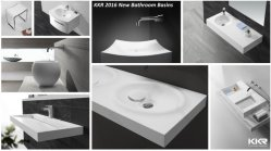KKR 2016 New Design Solid Surface Stone Washbasins