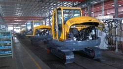 Assembling line of excavators