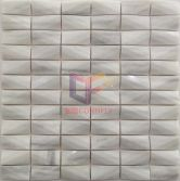 White marble stone with diamond effect design mosaic tiles(CFS1620)
