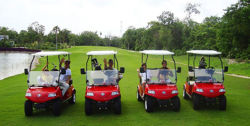HDK golf cars at the biggest golf course of Cancun in South America