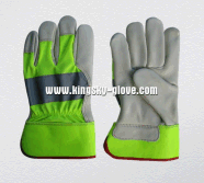 Hi Viz Colorful Cow Grain Leather Palm Glove