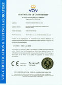 CE CERTIFICATE of PUSH BUTTON SWITCH