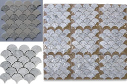 Waterjet Fish Scale Marble Mosaic Tile