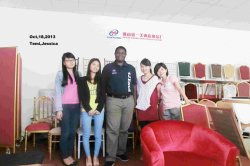 Xinyimei Sales team with customer in our showroom