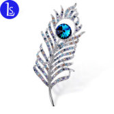 Vintage Feather Crystal Brooch