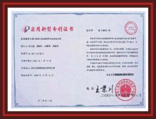 Lining Sheet patent certificate