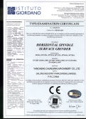 CE certificate for surface grinder machine