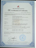 CE certification of conformity