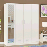 Customized Wooden 4 Door 2 drawer Wardrobe with mirror