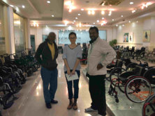 Customer check wheelchair in showroom