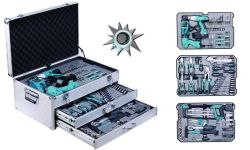 199PC Cordless Drills Set Tool Box, Swiss Kraft Tool Set with Combination Tools