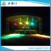 Aluminum curved stage roof for outdoor events with aluminum stage
