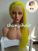 Yellow color lace wig