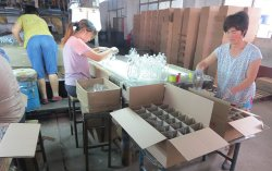 Packing Glass Bottle in Workshop