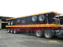 40ft flatbed trailer ready for RO-RO shipment on our factory yard