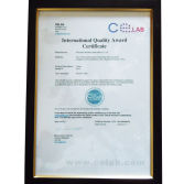 International Quality Award Certificate