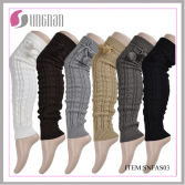 NEW DESIGN KNITTED WOMAN′S LACE BUTTON LEG WARMER