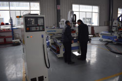 Australia customer visit factory and check his ATC cnc router machine