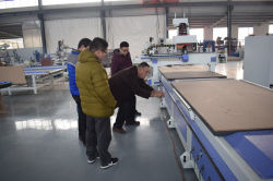 Customer Australia visit factory and check his auto loading cnc router