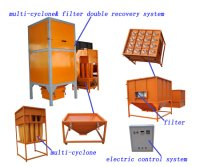 Multi cyclone powder recovery system powder coating booth
