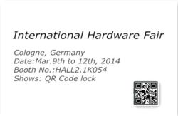 Warm welcome to visit our booth in International Hardware Fair