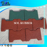 Heavy duty outdoor walkway interlock dog bone rubber paver