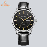 Fashion Mens Automatic Mechanical Date Black Leather Wrist Watch72583