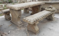 antique stone table and bench set
