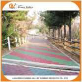 Walkway made with bone shape rubber tiles