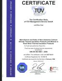 TUV certificate for Calcium silicate pipe cover and board