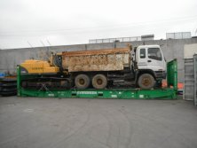 Volvo Excavator and Dump Truck Shipped by Frame Container