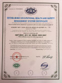 ESTABLISHEED OCCUPATIONAL HEALTH AND SAFETY MANAGEMENT SYSTEM CERTIFICATE