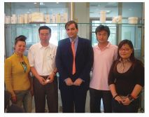 A picture of General Manager of Shenzhen Yonggao company Zhang wei and Foreign guests of the company