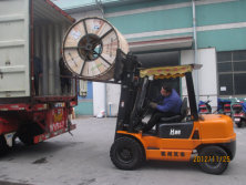 A Forklift Truck is Loading Cable to the Container Truck