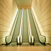 Escalators are often focal points in buildings