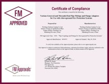 FM certificate of Pipe fittings