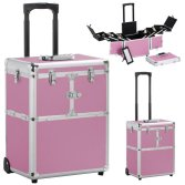 Pink Rolling Trolley Multi-function Box Mkeup Case