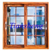 Power Coated Wooden Color Aluminum Windows and Doors with Mosquito Net
