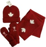 Red Color Adult 3-Piece Canada Toque/Scarf/Mitten Set