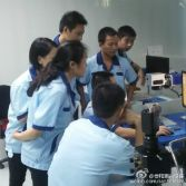 Our team is learning the machine operation