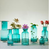 American Pastoral Fresh Decorate Beautify Blue Glass Vase Flower Arrangement Plant Dry Vase Glass Bottle with All Kinds Shape