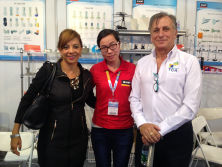 Customers take photo with our sales on trade fair