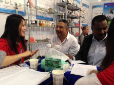 Customers visit our company booth
