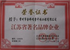 Honor certificate of Famous brand company