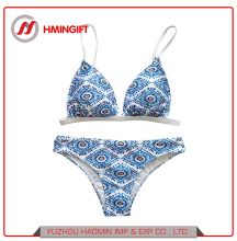 4f1e0bf4be61a Custom Young Girls′ Model Blue White Flower Swimsuit Plus Size Sling Bikini