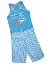 100% Cotton Girls Pajamas Tank Top 3/4 Pants Children Wears Baby Wears Sleep Wears