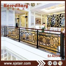 Black And Gold Wrought Iron Stair Railing Panels For Interior Terrace