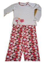 100% Cotton Girls Pajamas L/S Top Aop Pants Children Wears Baby Wears Sleep Wears