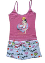 100% Cotton Girls Pajamas Sleeveless Top Aop Shorts Children Wears Baby Wears Sleep Wears